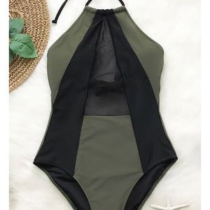 2f1b811115055 Other - Army green   black mesh one piece